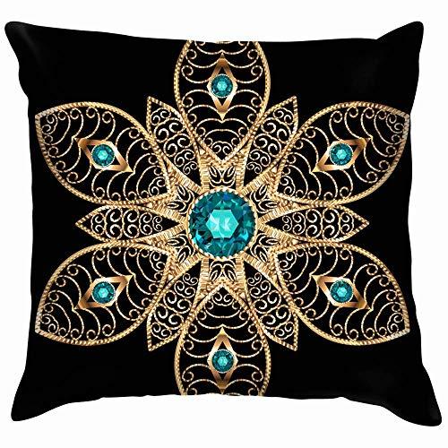Moily Fayshow Mandala Broche Elemento de diseño de joyería Aplique geométrico Belleza Moda Funda de Almohada Funda de cojín Cuadrado 55X55 Cm