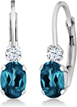 Gem Stone King Sterling Silver London Blue Topaz and White Sapphire Leverback 3/4 Inch Earrings 1.18 cttw Gemstone Birthstone