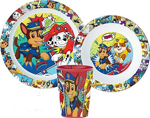 Paw Patrol - Set di stoviglie per bambini con piatto, ciotola e bicchiere