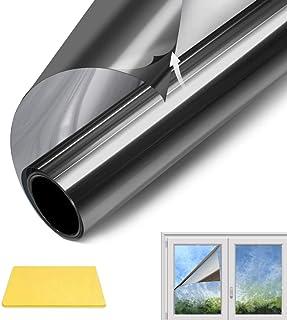 QXMCOV Vinilo Pet Película Adhesiva, Lámina de Espejo para Ventanas Cristal Unidireccional, Protector de Privacidad Anti UVCalor Mirada para Hogar Oficina (90 * 400cm)