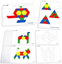 Learning Advantage Pattern Block Cards - Set of 20 Double-Sided Cards - Early Geometry for Kids - Teach Creativity, Sequencing and Patterning