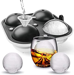 "Cusbus Large Ice Cube Trays for Whiskey, 2.5"" Flexible 4 Ice Balls Maker with Lids & 4 Bonus Funnels, BPA Free Round Silic..."