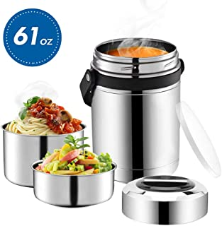 Soup Thermos Wide Mouth,61oz 3 Tier Large Food Thermos Jar,Food Flask for Hot Food with...