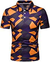Mijaution Mens Fashion Solid Color Short Sleeve Lapel Top Casual Sports Short Sleeve Button Shirt Pullover