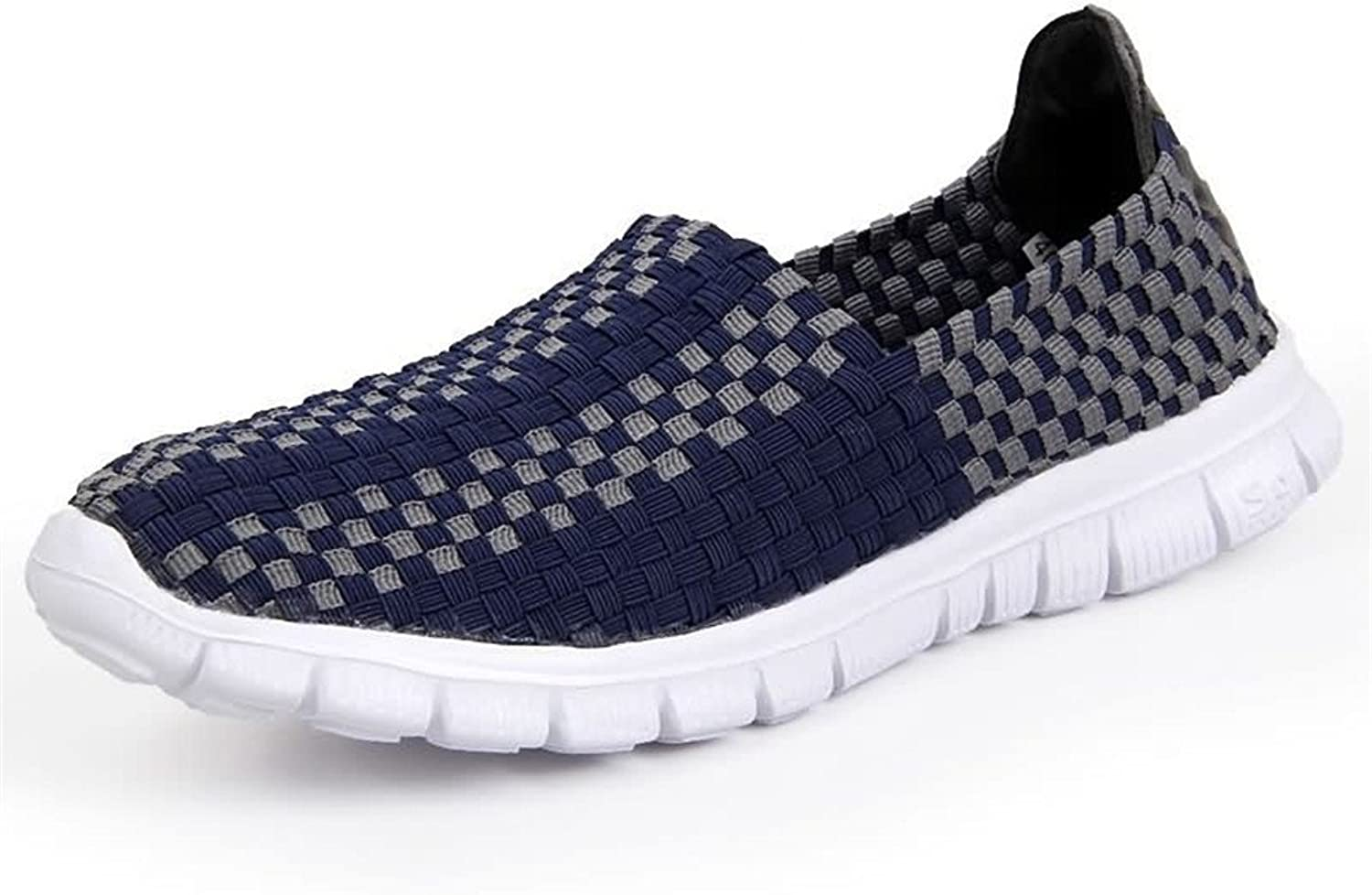 Men's Fashion Sneaker Men's Fashion Athletic shoes Strip Pattern Slip On Splice Vamp Leisure Sneaker Breathable (color   Navy, Size   9.5 D(M) US)