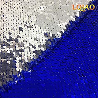 LQIAO Sparkly Royal Blue Silver-Sequin Fabric Two Tone Reversible Mermaid Sequin Fabric By the Yard(48inx36in) for Dress Clothing Making Home Decor(0.5 Yards)