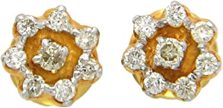 Popleys 18KT Yellow Gold and Diamond Stud Earrings (DID1794)