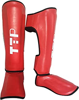 Boxing Training & MMA Fighting Approved by SMMAF Maya Hide Leather Muay Thai Instep Leg Protective Gear Great Protector Pa...