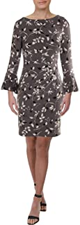 RALPH LAUREN Womens Gray Printed Bell Sleeve Boat Neck Above The Knee Sheath Wear To Work Dress Petites US Size: 14P