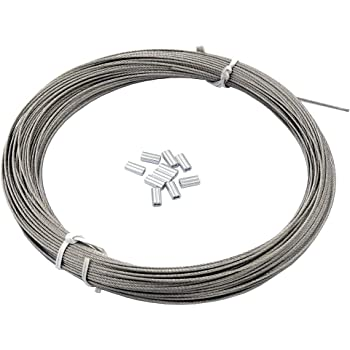 uxcell 1mm Dia 7x7 25M Long Flexible Stainless Steel Wire Cable for Grind