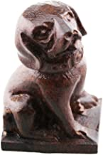 FOY-MALL Cute Wood Carved Zodiac Animal Dog Statue Figurine S1035