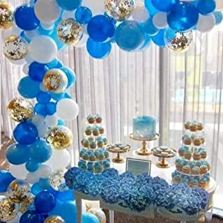 Royal Blue and White Latex Gold Confetti Balloons 100 Pcs Balloon Arch & Garland Kit,16 Ft Decorating Strip+Tying Tool+Glue Dots+Flower Clip+Silver Ribbon,Boy Baby Shower Birthday Party Decorations