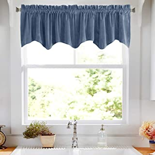 jinchan Room Darkening Velvet Curtain Weave-Shape Valance, Drapes for Bedroom Window Curtain Panels, Thermal Insulated Rod Pocket Single Panel, 18