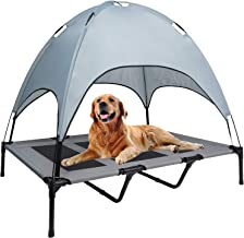WANTRYAPET Elevated Dog Bed with Canopy, Portable Raised Pet Cot, Sturdy Breathable Textilene Mesh, No-Slip Feet, Dog Bed ...