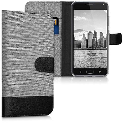 kwmobile Asus Zenfone 4 Max Pro ZC554KL Hülle - Kunstleder Wallet Case für Asus Zenfone 4 Max Pro ZC554KL mit Kartenfächern & Stand - Grau Schwarz