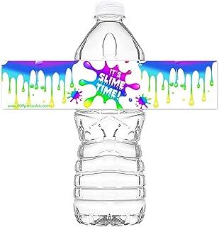 POP parties Slime Rainbow Party Bottle Wraps - Set of 20 Waterproof Bottle Stickers - Slime Water Bottle Labels - Slime Party Decorations - Rainbow Bottle