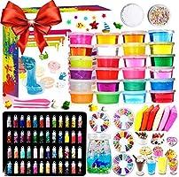 DIY Slime Kit - 24 Colores Kit de Slime Esponjoso con 48 brillantinas, Suministros de Slime Claro para niños, Incluye...