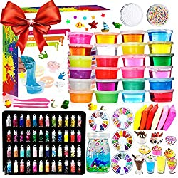The package includes 24 colors crystal slime,48 bottles glitter jar,6 colors air dry clay(color randomly),10 candy toy moulds,10 small animal toys, 4 packs fruit slices,3 pieces slime tools,2 pack colorful foam balls and a practical drifting bottle. ...