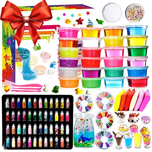 DIY Slime Kit - 24 Colores Kit de Slime Esponjoso con 48 bri