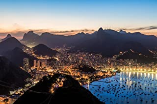 Rio de Janeiro Brazil Skyline at Twilight Photo Photograph Cool Wall Decor Art Print Poster 36x24