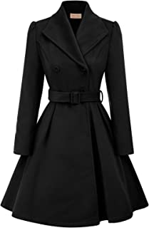 Belle Poque Women's Double Breasted Wool Coats Winter Trench Jacket with Belt