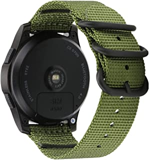 Nato Green 24mm Nylon Watch Band Strap Replacement for Mens Sport Woven Canvas Nylon Watch Band