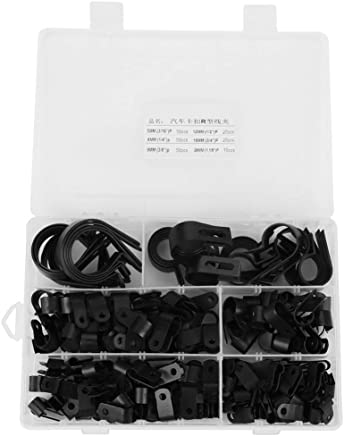 200pcs P Clips Nylon Plastic Fasteners with Assorted BoxFasteners for Conduit, Cable Conduit Kit, Tubing & Sleeving (Black/White)(Black)