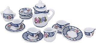 SODIAL(R) 15pzs Juego de te de porcelana de estilo britanico de miniatura Plato / Taza / Placa --- Azul para 1/12 Casa de munecas
