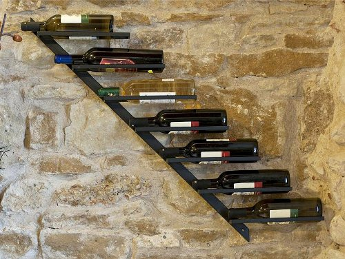 DanDiBo Scaffale per Vini Porta-Bottiglie Diagon 100 cm in Metallo Scaffale Porta-Bottiglie Bar (Versione Destra)