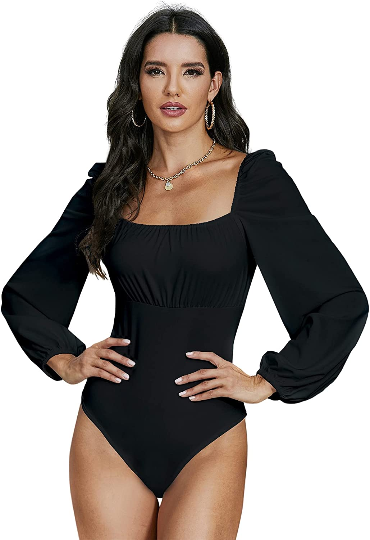 MakeMeChic Women's Square Neck Puff Long Sleeve Bodycon Leotard Bodysuit Top
