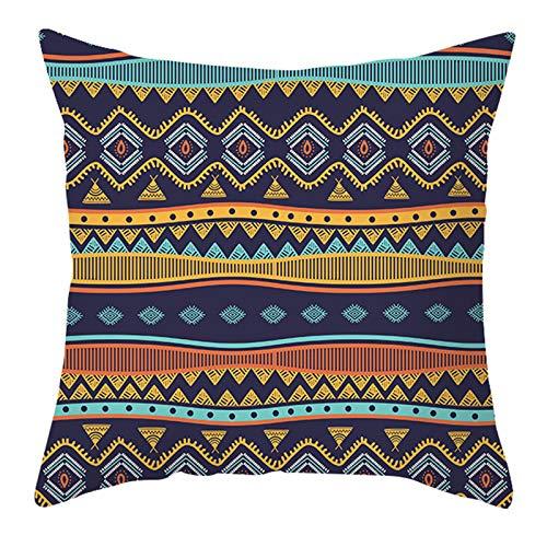 gszfsm001 - Funda de cojín a rayas geométricas, de color bohemio nórdico, poliéster aterciopelado abstracto, funda de cojín decorativa para casa, oficina, sofá, suministros