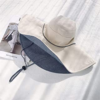 SHENTIANWEI Large Brimmed hat Female Summer Korean Version of Japanese Wild Travel Sun hat Sun hat Covering her face Wearing a Double-Sided (Color : Beige, Size : One Size)