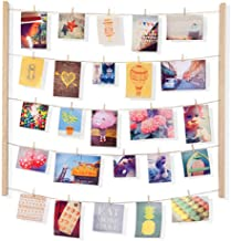 Umbra Hangit Photo Display - DIY Picture Frames Collage Set Includes Picture Hanging Wire Twine Cords, Natural Wood Wall M...