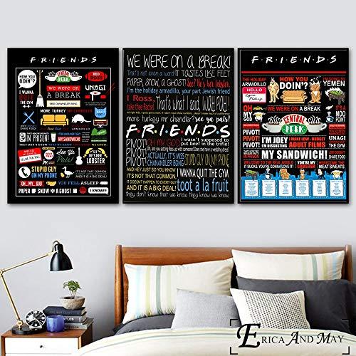 TV-Serie Klassische Plakate und Drucke Wandkunst Dekoration Malerei auf Leinwand Home Decoration,Rahmenlose Malerei-30x40cmx3