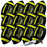 Franklin Sports Junior Size Football - Grip-Rite Youth Footballs - Extra Grip Synthetic Leather Perfect for Kids - 1 Pack Inflated - 12 Pack Deflated with Pump