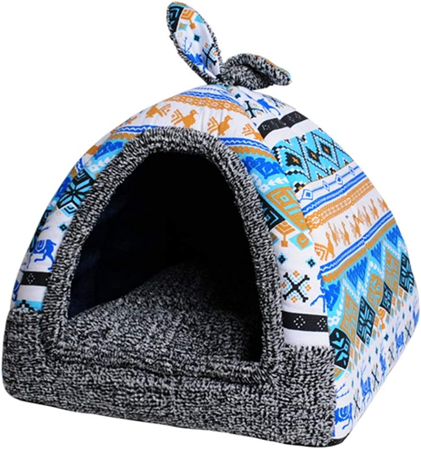 Kennel, Cat Litter Small Dogs Cats Four Seasons Pet Sleeping Bag Winter Warm One Nest Dualuse Removable and Washable (color   D, Size   M)
