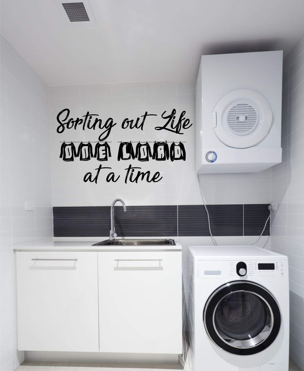 Laundry Room Decor   Vinyl Wall Decal Lettering   Sorting Out Life One Load  At a Time Quote   Large, Small Sizes   Black, Brown, Red, Blue, Green, ...