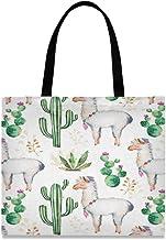 ZZKKO Llama Kaktus, Segeltuch, große Schultertasche, Freizeittasche, für Frauen, Lehrer, Alpaka, Baumwolle, Einkaufstasche, Handtasche, wiederverwendbar, Mehrzweck-Einsatz
