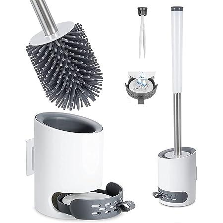 Brosse Toilettes Silicone et Supports Antibactérienne Balayette WC Balai Brosse Ensemble avec Pincette Cachée, Boue de Diatomées (Flooring &Suspendu)