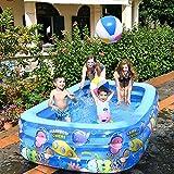 QXXZ Piscina Hinchable Rectangular Piscina Infantil Inflable,Piscina Familiar en Patio Trasero, Fiesta AcuáTica De Verano, Exterior, JardíN, Adultos Niños, Azul200cm