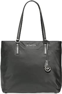 Womens Morgan Faux Leather Trim Nylon Tote Handbag Gray Large