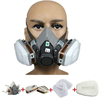 JZWDMD 7in1 Respirator Gas Mask Widely Used in Organic Gas,Paint Spary, Chemical,Woodworking,Dust Protectio