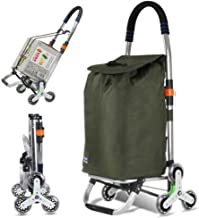 Folding Shopping Cart, Stair Climbing Cart Trolly Grocery Laundry Utility Cart with Wheel & Removable Waterproof Canvas Ba...