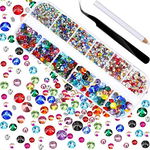 2000 piezas de diamantes de imitación de cristal plano de fijación caliente gemas de cristal redondas 1,5-6MM (SS4-SS30) en caja de almacenamiento con pinzas y bolígrafo de diamantes de imitación