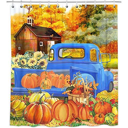 """Bonsai Tree Fall Shower Curtain, Waterproof Hello Fall Pumpkins Bathroom Curtains for Girls, Autumn Harvest Farm Truck Leaves Farmhouse Fabric Shower Curtains Hooks for Bathroom Decor Gifts, 72""""x72"""""""