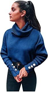 Women's Casual Long Sleeve Turtleneck Cable Knit Oversized Pullover Sweater Tops, Buckles Decor Loose Shirt