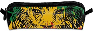 KutLong Ethiopian Flag Colors On Grunge Sketchy Lion Head with Black Student Pencil Pen Case Zipper Pouch Small Cosmetic Makeup Bag Coin Purse?for Kids Teens and Other School Supplies