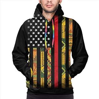 Kente US African American Flag Men's Fashion Hoodies Sweatshirts Pullover Tracksuit