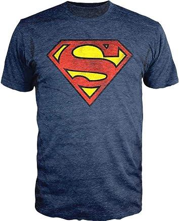 7ebeb6b030f1c DC Comics Superman Logo Navy Heather T-Shirt Officially Licensed