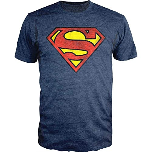 01b68a3d0 DC Comics Superman Logo Navy Heather T-Shirt Officially Licensed
